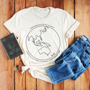 Cream climate change t shirt with black Australia centred earth image