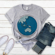 Grey climate emergency t-shirt with colourful Australia centred earth image