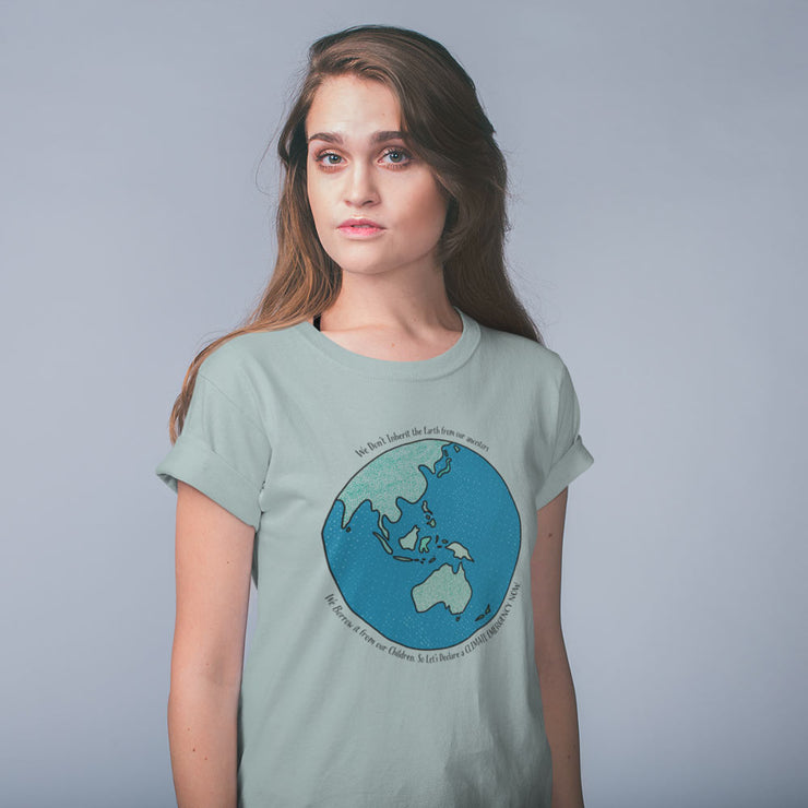 Pale blue climate emergency t-shirt with colourful Australia centred earth image