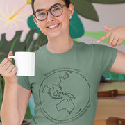Sage green climate emergency t-shirt with black Australia centred earth image