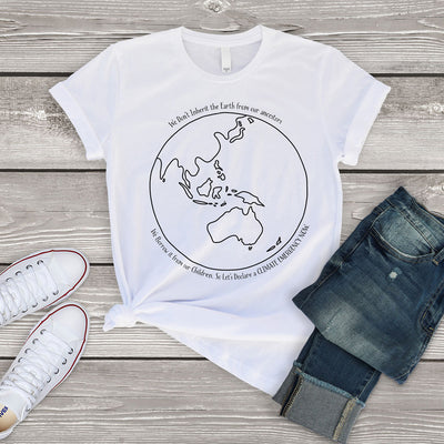 White climate change t shirt with black Australia centred earth image