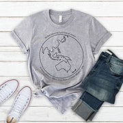 White climate emergency t-shirt with black Australia centred earth image