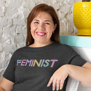 Charcoal slogan feminist t-shirt with colourful painted typography
