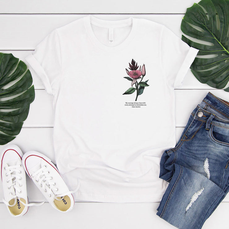 White t-shirt with vintage flower illustration and Jane Austen quote about courage