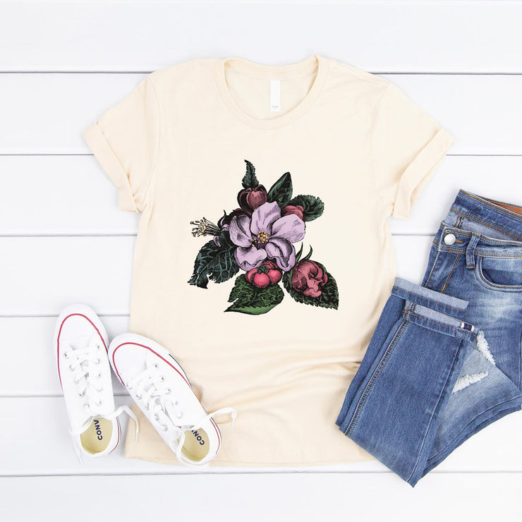 Cream women's t-shirt with a vintage crab apple botanical illustration