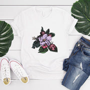 White women's t-shirt with a vintage crab apple botanical illustration