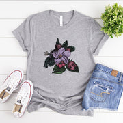 Grey women's t-shirt with a vintage crab apple botanical illustration