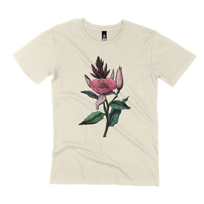 natural unisex flower t shirt flatlay