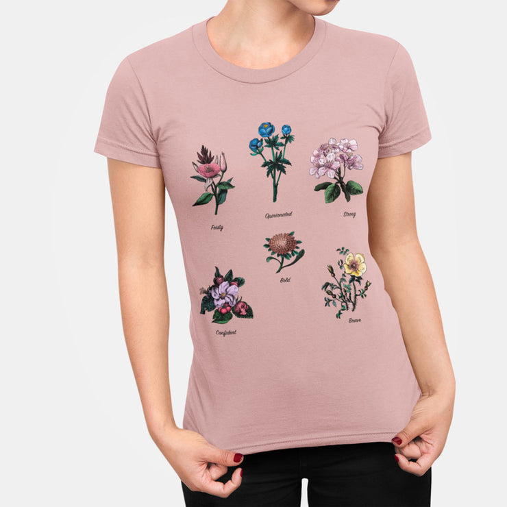 Pink floral feminist t-shirt with gender role quote