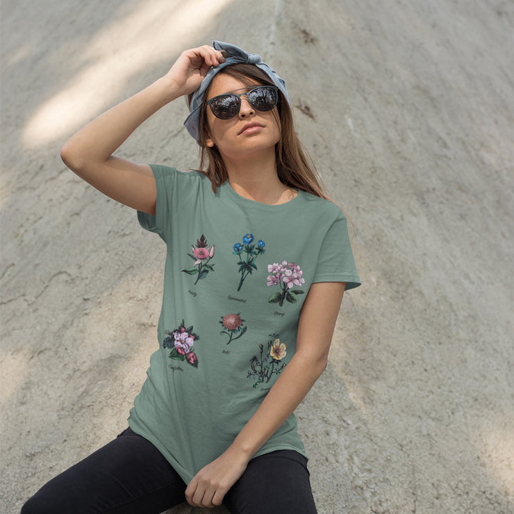 Sage green floral feminist t-shirt with gender role quote