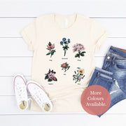 Cream floral feminist t-shirt with gender role quote