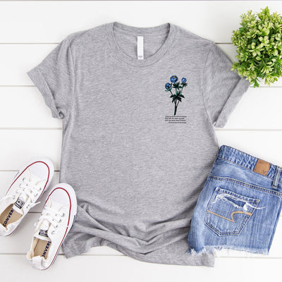 Dream poetry women's t-shirt grey marle with blue flower & Elizabeth Barrett Browning poem