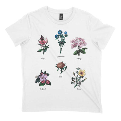 organic flower print feminist t shirt with non-conforming gender roles written under each flower.