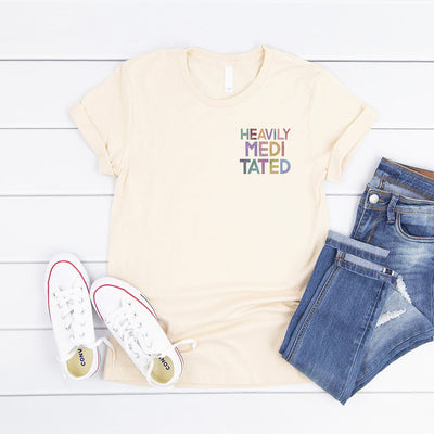 Cream heavily meditated slogan t shirt small print on pocket area