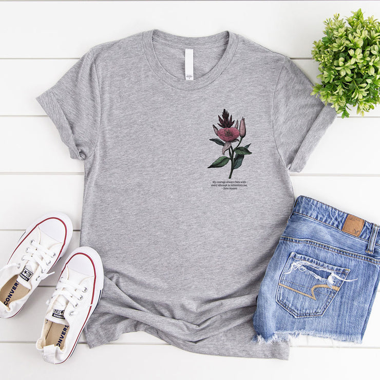 Grey t-shirt with vintage flower illustration and Jane Austen quote about courage