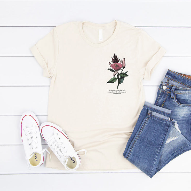 Cream t-shirt with vintage flower illustration and Jane Austen quote about courage