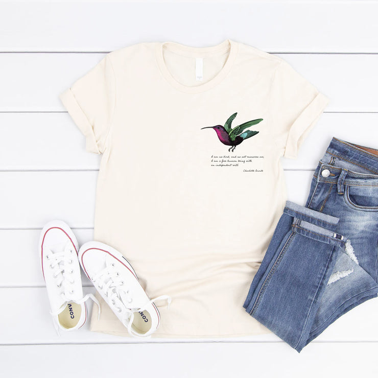 Cream poetry t-shirt with charlotte bronte quote and colourful hummingbird on pocket