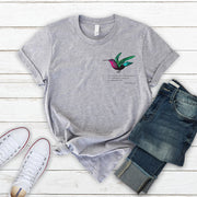 Grey poetry t-shirt with charlotte bronte quote and colourful hummingbird on pocket