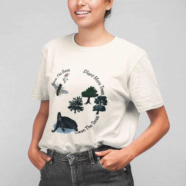 natural save the bees t shirt organic cotton unisex  on woman