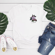 White t shirt with vintage crab apple flower illustration and climate change quote on the pocket