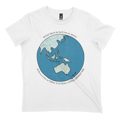 white organic cotton tee with australia centred globe and a climate change quote front
