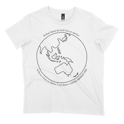 White organic climate change tshirt with quote 'lets declare a climate emergency now'