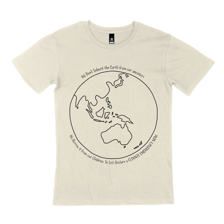 monochromatic climate change tshirt for both men and women. Australia centred globe and quote cream
