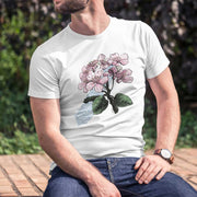 white organic cotton unisex cherry blossom tshirt on man