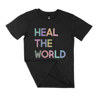 black unisex heal the world tshirt with colourful typography