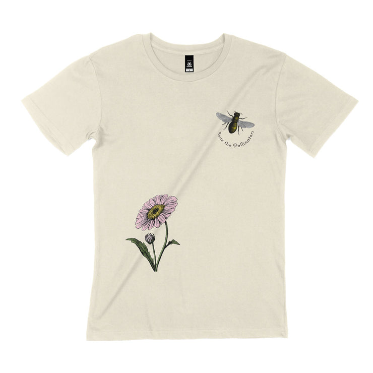 Unisex organic cotton save the bees shirt natural flatly