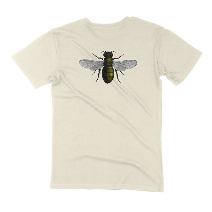 Unisex organic cotton save the bees shirt natural flatly back