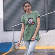 Sage green women's t-shirt with a vintage crab apple botanical illustration