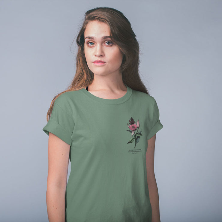 Sage green t-shirt with vintage flower illustration and Jane Austen quote about courage