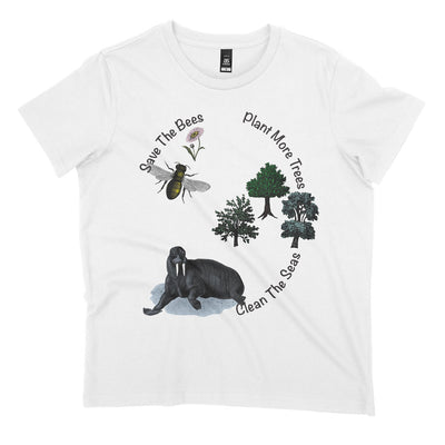 white protest shirt with slogan 'save the bees, clean the seas, plant more trees'.