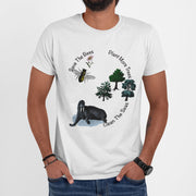 white save the bees t shirt organic cotton unisex on man