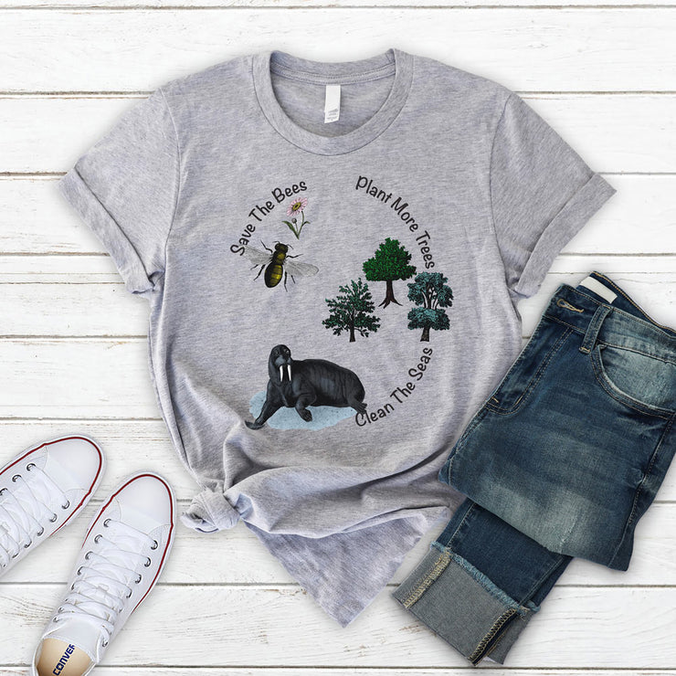 Grey save the bees t shirt with the quote save the bees, clean the seas, plant more trees.