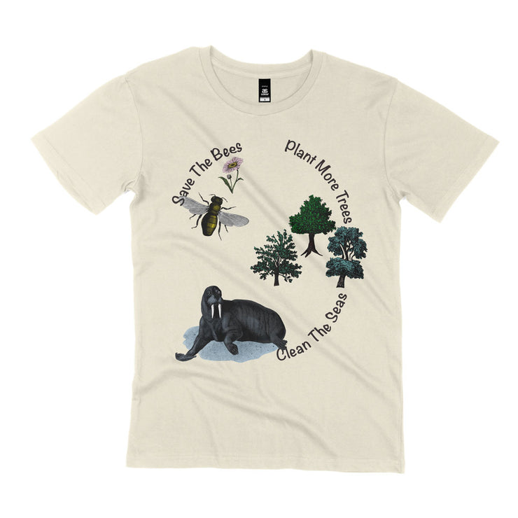 natural save the bees t shirt organic cotton unisex