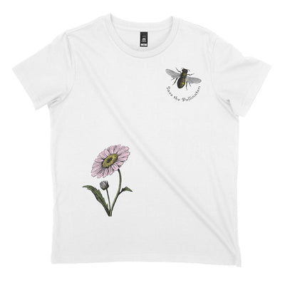 White organic save the bees tshirt with flower & bee illustrations and quote 'save the pollinators'