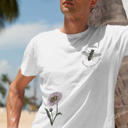 Unisex organic cotton save the bees shirt white front on man