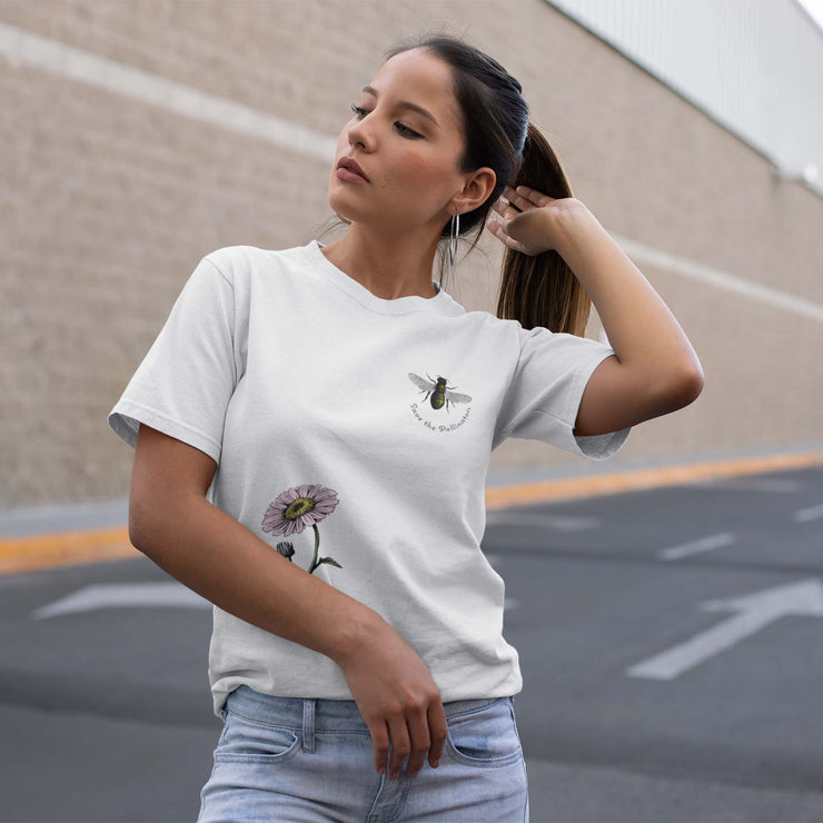 Unisex organic cotton save the bees shirt white on woman