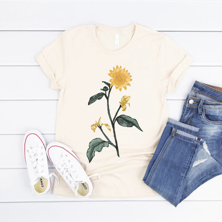 Cream vintage sunflower t shirt - large botanical illustration on front