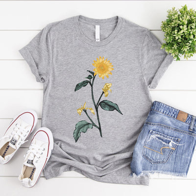 Grey vintage sunflower t shirt - large botanical illustration on front