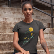Charcoal vintage sunflower t shirt - large botanical illustration on front