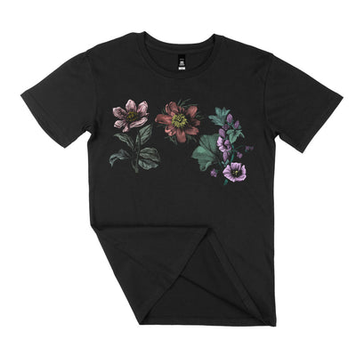 womens and mens floral t shirt organic cotton black