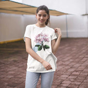 white organic cotton unisex cherry blossom tshirt on woman