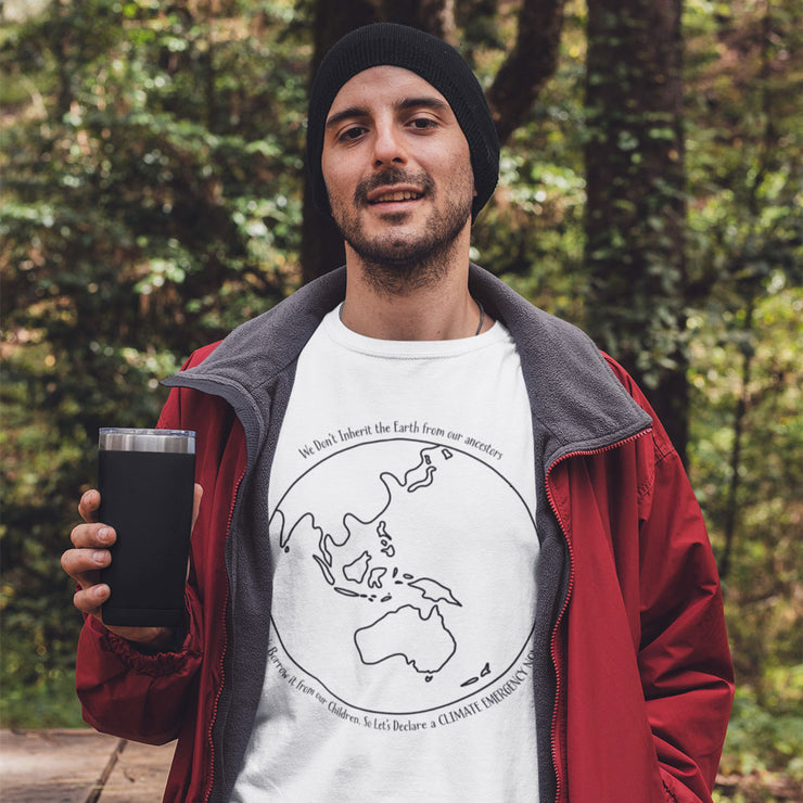 monochromatic climate change tshirt for both men and women. Australia centred globe and quote white