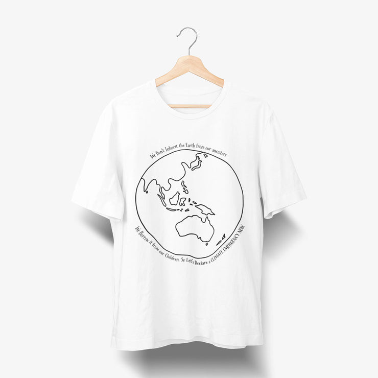 white monochromatic climate change tshirt for both men and women. Australia centred globe and quote