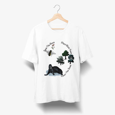 white save the bees t shirt organic cotton unisex