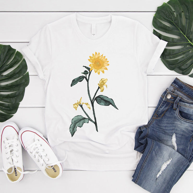 White vintage sunflower t shirt - large botanical illustration on front