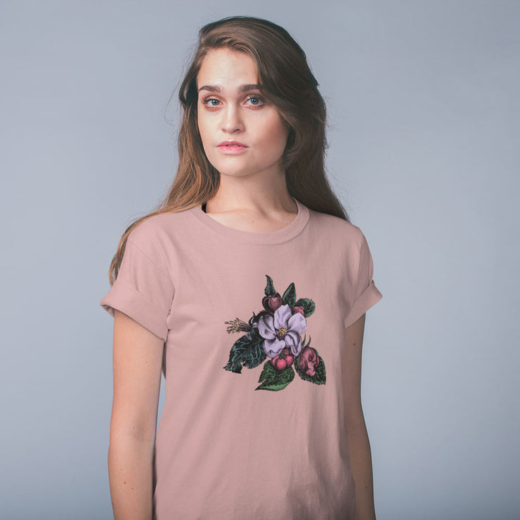Pink women's t-shirt with a vintage crab apple botanical illustration